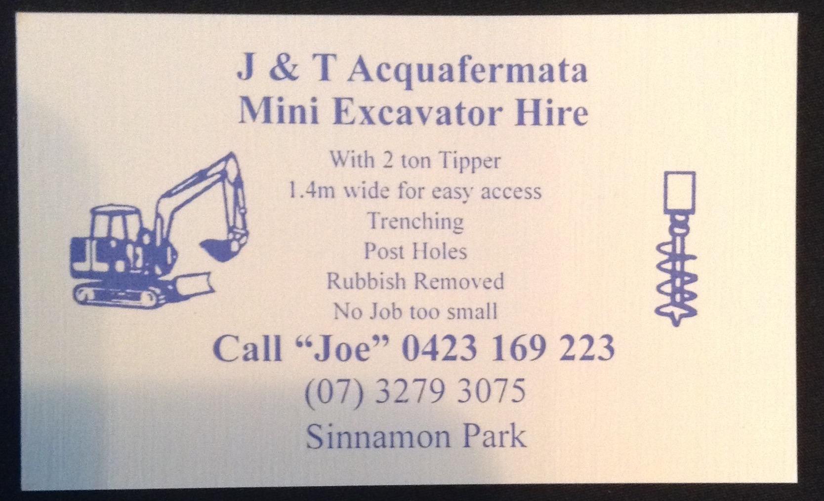 J & T Acquafermata Mini Excavator – 4074 Community and Beyond